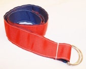 Reversible D-ring ribbon belt,  1.5  inch, solid red and solid royal blue.