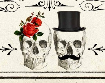 DIY Printable Save The Date Cards - Digital Download - Antique Art Deco Skull Day of The Dead Vintage Wedding - Personalized - Black Red
