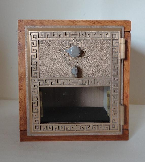 Vintage Brass Post Office Door Safe Cherry Wood Bank