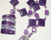 Very Purple hand made wire wrapped stone with Tibetan silver and enamel focal piece statement necklace