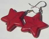 red howlite stars pierced dangle hand made wire wrapped earrings