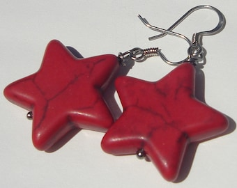 Pierced dangle Red Star stone Earrings red howlite stars pierced dangle hand made wire wrapped earrings
