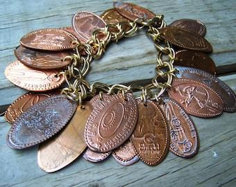 Custom Around the World Smashed Penny Coin Bracelet