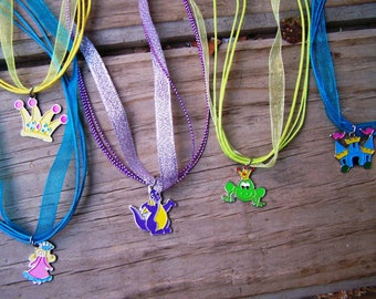Assorted Fairy Tale Princess Neckaces on Ribbon Cords Birthday Party Favor Necklaces 5pk