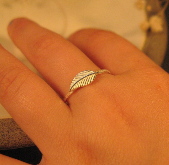 Sterling silver leaf ring,  Silver stack ring, Nature jewelry, Thin delicate ring