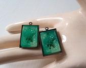 Pair Vintage Carved Jade Charm