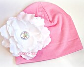 Newborn Knit Cotton Beanie / Baby Girls Hat / Pink n White Flower Cotton Beanie/ Hat / Hospital Hat / Kids Warm Hat/ MORE Sizes and Colors