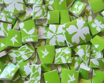 Mosaic Tiles--Birds- Tree Leaves Branches--Lime Green-70 Tiles