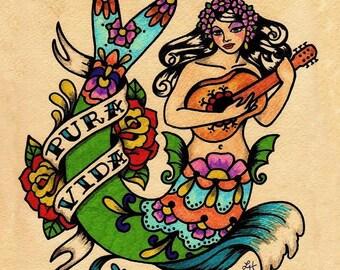 Tattoo Mermaid PURA VIDA  Mexican Folk Art Print 8 x 10 or 11 x 14