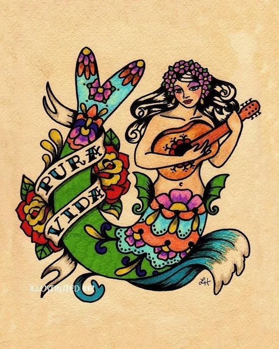Tattoo Mermaid PURA VIDA  Mexican Folk Art Print 8 x 10 or 11 x 14