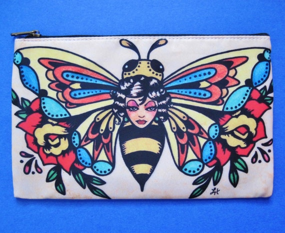 RESERVED FOR Gaiababy - Old School Tattoo BEE Cosmetic Bag
