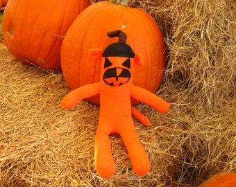 Jack-o'-lantern sock monkey MADE TO ORDER
