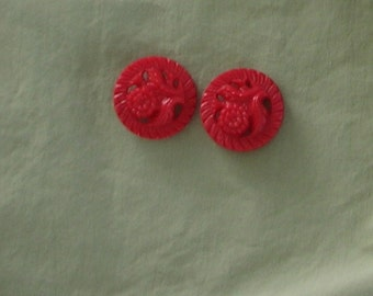 1940s RED Floral Plastic Buttons