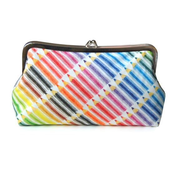 Colorful clutch purse, Back to school, Pencil purse, Artist gift, Teacher gift, Fabric purse, Metal frame purse, Rainbow purse, Handmade bag