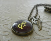 "necklace 18"" antiqued brass steampunk with ampersand pendant  FREE SHIPPING"