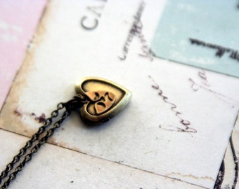 loves drama locket necklace. brass ox color
