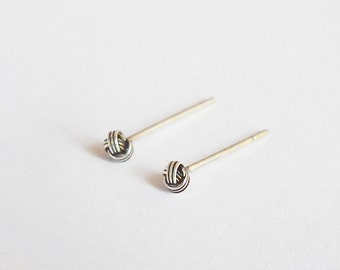 2.5 mm Tiny Oxidized Knot Ball, Silver Stud Earrings, Nose pin, Ear pin, CHOOSE SIZE
