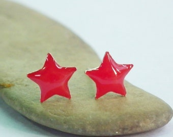 Red Little Star Silver Stud Earrings 92.5% Sterling Silver, Cartilage Piecing Silver Post Charm Jewelry Bridesmaid Gift under 10