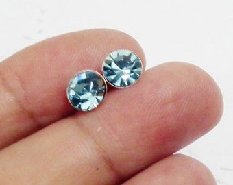 7 mm Aquamarine Blue Crystal Rhinestone 925 Sterling Silver Post Stud Earrings Vintage Style Charm Jewelry Bridesmaid Gift