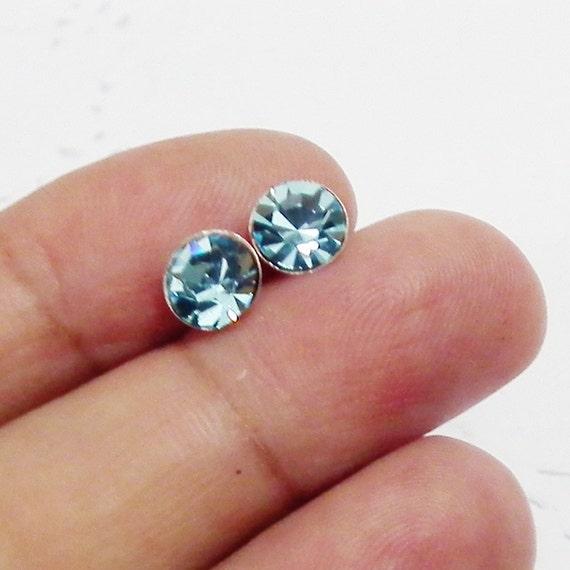 7 mm Aquamarine Blue Crystal Rhinestone 925 Sterling Silver Post Stud Earrings Vintage Style Charm Jewelry Bridesmaid Gift