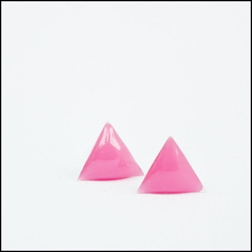 pink triangle stud earrings geometric studs arrow earrings