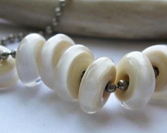 luminous ivory  glass discs Lampwork Beads by Ellen Dooley sra (8)