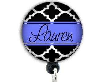 Retractable Badge Holder - Personalized Black and Blue Trellis - Badge Reel