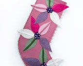 Modern Holiday Stocking by Ahna Holder - Pink Poinsettias