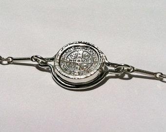 St. Benedict Bracelet Religious Medal Cross Sterling Silver