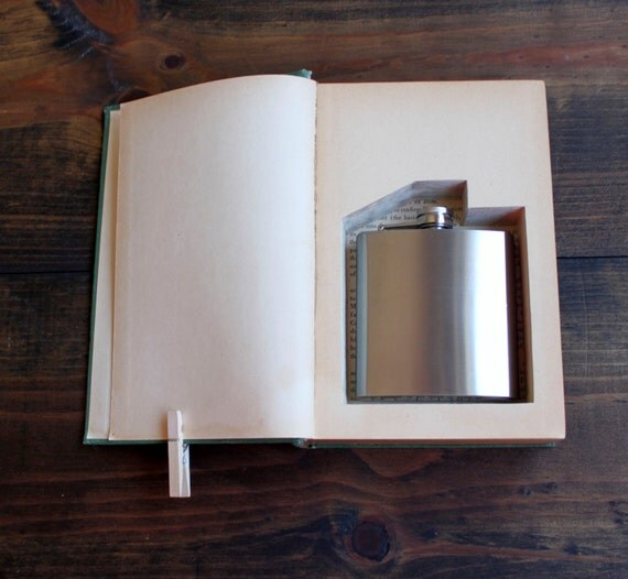 hollow book flask safe ''crucibles'' (flask included) -  old book with flask inside - great for groomsman gift - gift for men