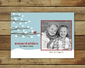 Snowy branches christmas card, warmest wishes holiday card