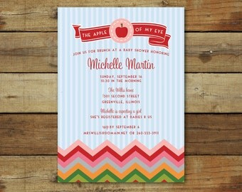 apple of my eye baby shower invitation, gender neutral baby shower, printable or printed