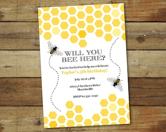 Bumble bee birthday party invitation, bee hive birthday party theme, yellow and black, printable or printed bee birthday party invitation
