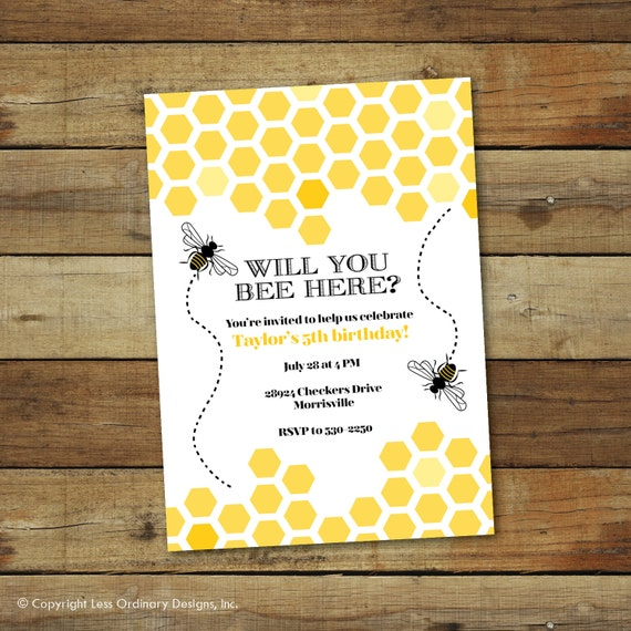 Bumble Bee Birthday Party Invitation Bee Hive Birthday Party