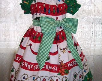 My Carrie Custom Grinchy Christmas Peasant Style Dress made with Dr. Suess Grinch Fabirc