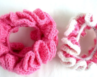 Pink and White Hair Scrunchies, Ponytail Holder, Crochet, Set of 2