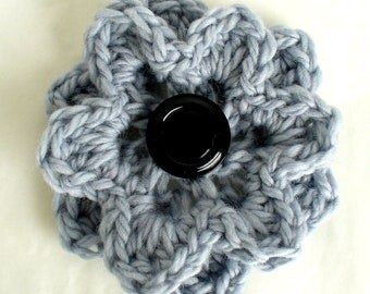 Crochet Flower Pin or Brooch, Chunky Grey Flower,  Corsage Pin,  Large Flower Brooch, black button centre