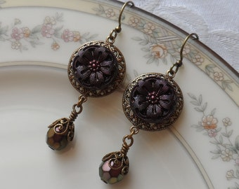 Rosemary, Vintage German Glass Button Earring