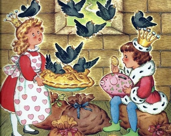 Art Print on Silk Vintage Nursery Rhymes - 4 and 20 blackbirds baked in a PIE - fiber arts collage embellishing embroidery