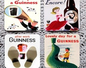 Mid Century Modern - Vintage Guinness Advertising Mousepad Coaster Set