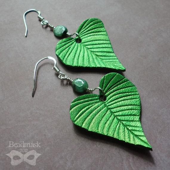 Birch Leaf Earrings - Leather Leaves With Sterling Silver And Raw Emerald