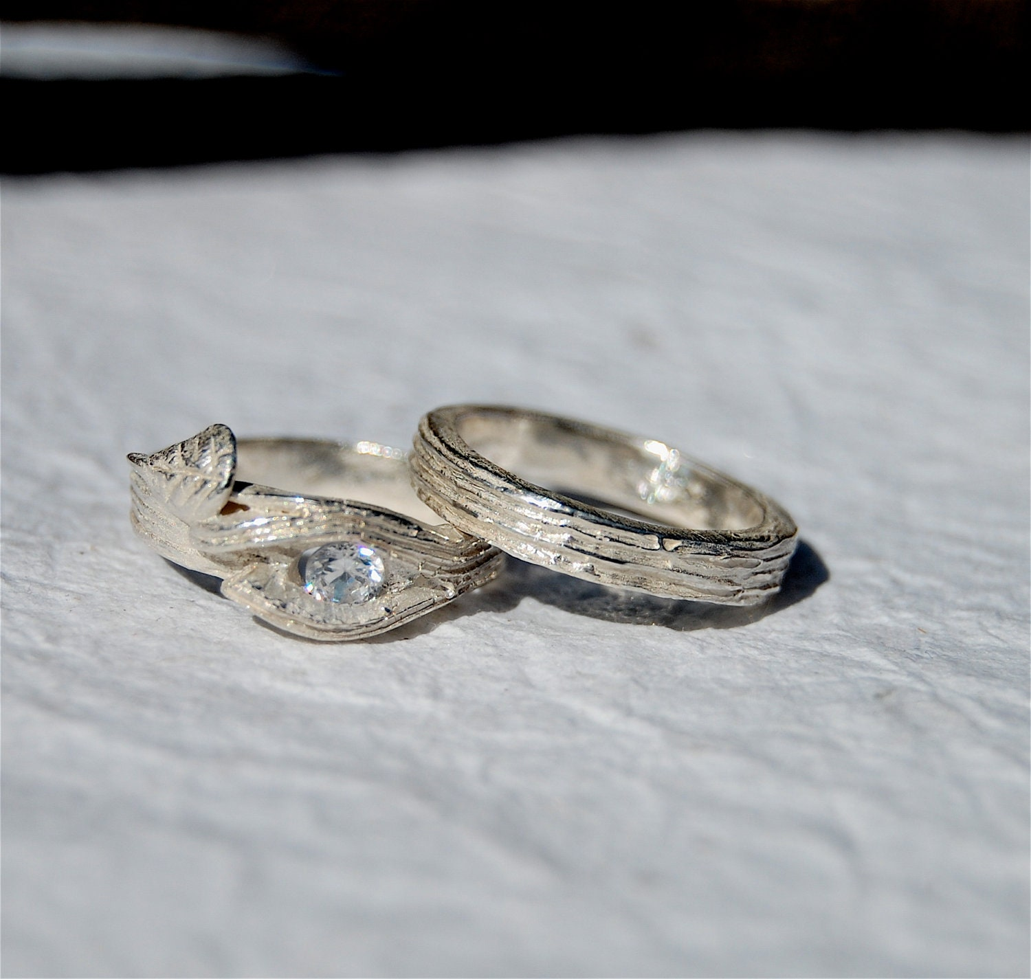 branch wedding ring branch twig ring engagement swarovski lab wedding set tree 2055