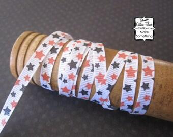 Halloween Ribbon - Orange and Black Stars - 1/4 inch wide - grosgrain scrapbooking hair bows gift wrap