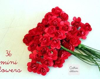 36 Red Paper Flowers - mini bouquet - weddings - favors - invitations - paper goods