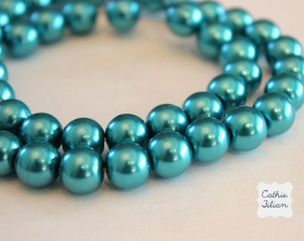 Turquoise Pearl Beads - 1 Strand of Pearls - 10mm - Glass
