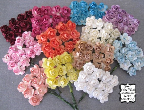 144 Paper Flowers - Mixed Colors - Scrapbooking Embellishment - weddings - favors - invitations - paper goods
