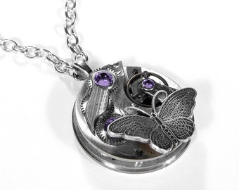 Steampunk Necklace Vintage Pocket Watch Swarovski LILAC Crystal BUTTERFLY, Mothers  Day, Anniversary, Fiancee Gift - Jewelry by edmdesigns