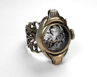 Steampunk Jewelry Womens Ring Vintage Gold Watch Case Ruby Jeweled BULOVA Wedding Anniversary GORGEOUS - Steampunk Jewelry by edmdesigns