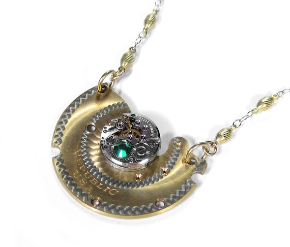 Steampunk Necklace Antique 2 TONE Pocket Watch & Jeweled Watch Emerald Crystal GORGEOUS Womens Wedding Anniversary - Steampunk by edmdesigns