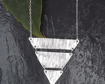 sterling silver medium triangle necklace
